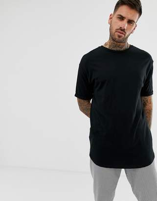 Bershka Longline T-Shirt In Black