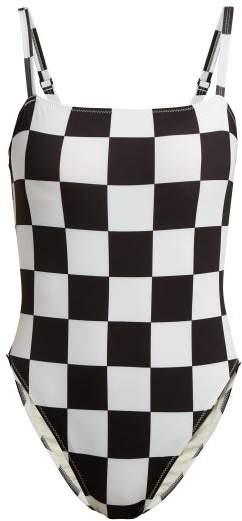 X Re/done The Malibu Checkered Swimsuit - Womens - Black White