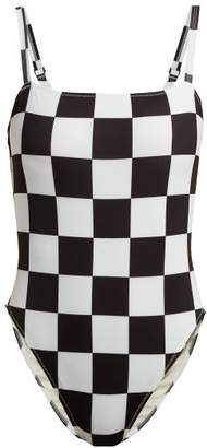 Solid & Striped X Re/done The Malibu Checkered Swimsuit - Womens - Black White