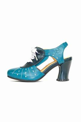John Fluevog Teal Leather Pump $289 thestylecure.com