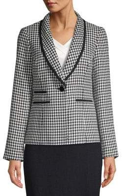 Nipon Boutique Herringbone Trimmed Button-Front Blazer
