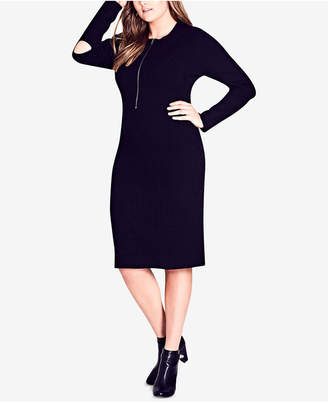 City Chic Trendy Plus Size Cutout Sweater Dress