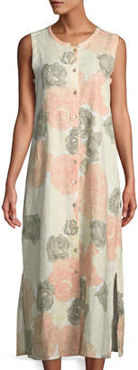 Joan Vass Floral Button-Front Maxi Dress