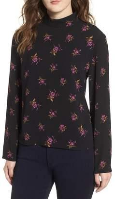BP Floral Mock Neck Long Sleeve Top