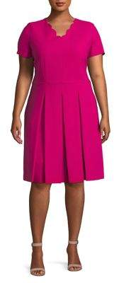 Tahari Arthur S. Levine Plus Short-Sleeve Fit-and-Flare Dress