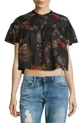 Free People Sweet Escape Cotton Button-Down Shirt