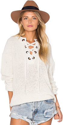 J.O.A. Lace Up Sweater in Ivory