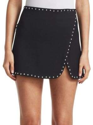 Helmut Lang Studded Overlap Mini Skirt