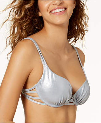 Macy's Sundazed Juniors' Harper Bra-Sized Underwire Push-Up Strappy Bikini Top, Created For