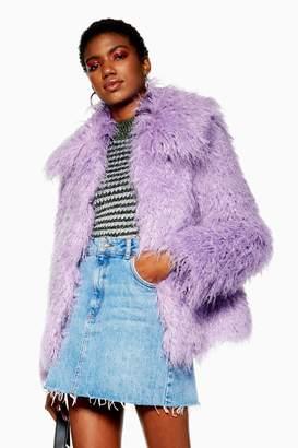 Topshop Womens Lilac Mongolian Faux Fur Coat - Lilac