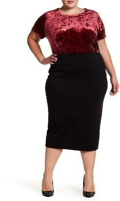 14th & Union Ponte Midi Pencil Skirt (Plus Size)