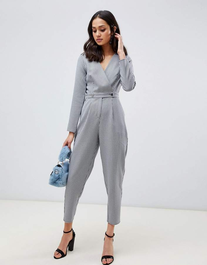 jumpsuit with button detail in dogtooth print