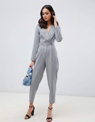 Miss Selfridge jumpsuit with button detail in houndstooth print
