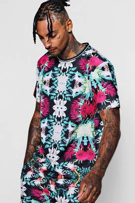 boohoo Loose Sports Rib Mesh Floral Print T-Shirt