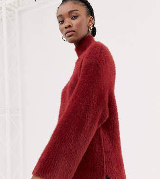 New Look jumper with wide sleeves in burgundy