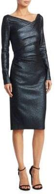 Talbot Runhof Metallic Ruched Sheath Dress