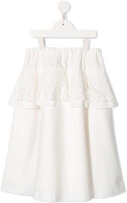 Familiar lace peplum skirt