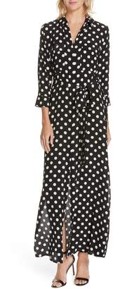 L'Agence Cameron Polka Dot Silk Maxi Shirtdress