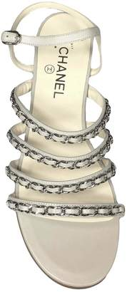 Chanel Grey Leather Sandals