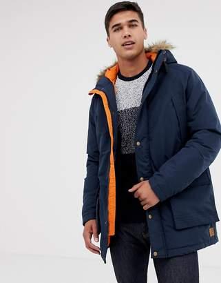 Jack and Jones Parka Jacket with Faux Fur Hood