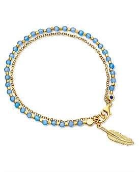 Astley Clarke Blue Agate Feather Biography Bracelet