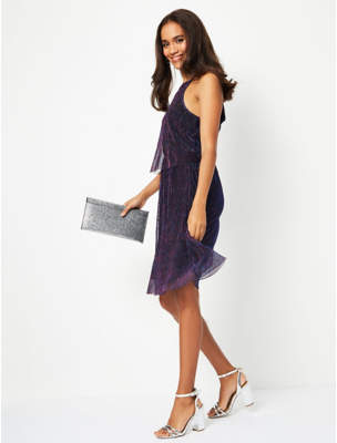 George Purple Galaxy Shimmering Plisse Layered Dress