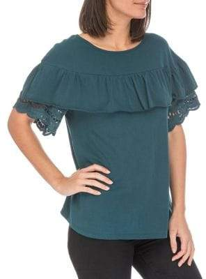 Bobeau Brynlee Lace-Trimmed Cotton Tee