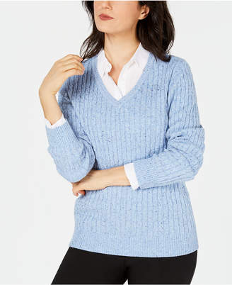 Karen Scott Cable-Knit V-Neck Sweater