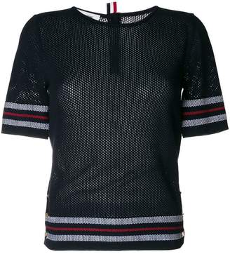 Thom Browne Mesh Stitch V-neck Cardigan With Float Stitch Red, White And Blue Cricket Stripe In Cotton Crepe