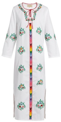 Muzungu Sisters - Jasmine Floral Embroidered Cotton Dress - Womens - White Multi