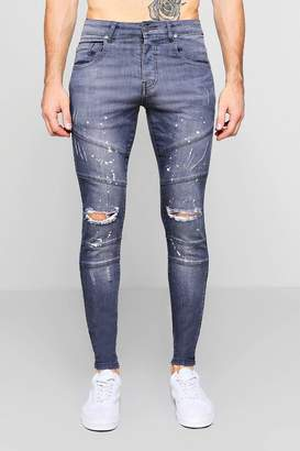 boohoo Skinny Fit Panelled Jeans With Paint Splatter