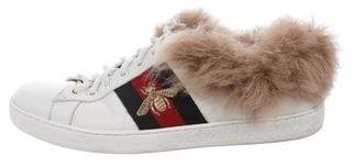 Gucci Fur-Trimmed Ace Low-Top Sneakers