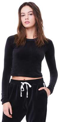 Juicy Couture Stretch Velour Juicy Logo Long Sleeve Tee