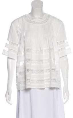 Alexis Crochet-Accented Short Sleeve Top