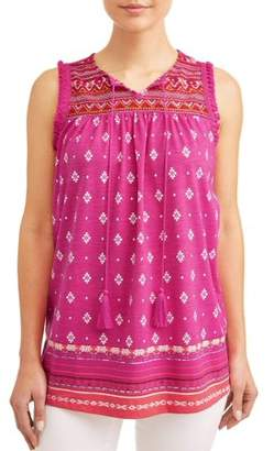 Cherokee Women's Embroidered Lace Peasant Tank Top with Fringe