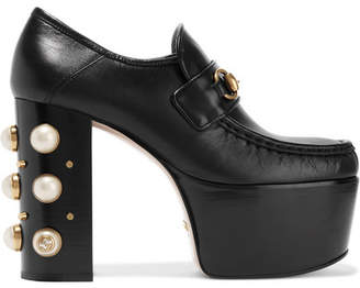 Gucci Embellished Leather Platform Loafers - Black
