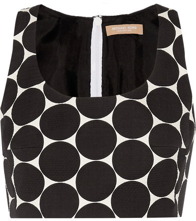 Michael Kors Collection - Cropped Polka-dot Cotton And Silk-blend Matelassé Top - Black