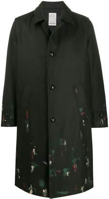 Paltò printed button-up coat