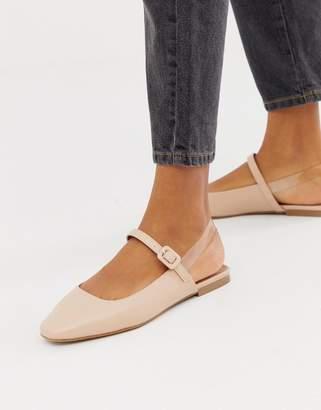 clear ASOS DESIGN Littleton square toe ballet flats