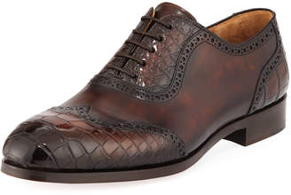 Magnanni Men's Barcelona Leather & Alligator Lace-Up Dress Shoes