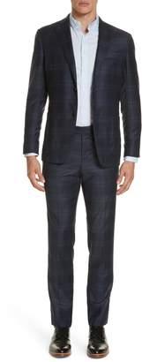 Eidos Trim Fit Plaid Wool & Cashmere Suit