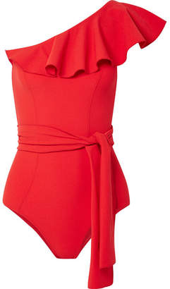 Lisa Marie Fernandez Arden Ruffled One-shoulder Stretch-crepe Swimsuit - Tomato red