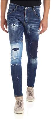 DSQUARED2 Skater Fit Cotton Denim Jeans