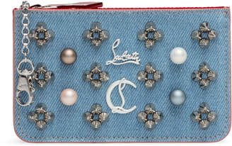 Christian Louboutin Panettone Blue Denim Pearl Keyholder