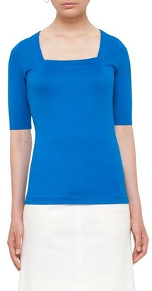 Women's Akris Punto Square Neck Stretch Jersey Tee $295 thestylecure.com