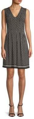 Max Studio Polka Dot-Print Pleated Fit-and-Flare Dress