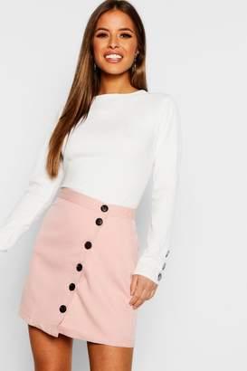 boohoo Petite Asymmetric Button Front Skirt