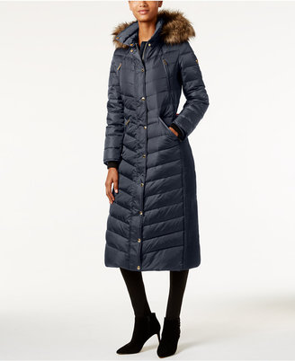 MICHAEL Michael Kors Faux-Fur-Trim Down Maxi Puffer Coat $400 thestylecure.com