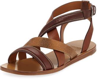 Brunello Cucinelli Flat Multi-Strap Leather Sandals