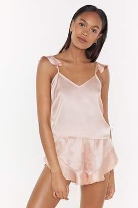 Nasty Gal Womens Satin Ruffle Cami & Short Set - Metallics - 6, Metallics